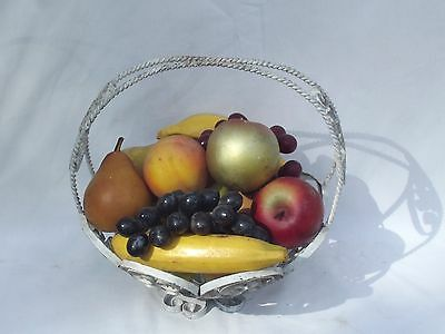 Vintage basket with of fake fruit, pears grapes apples and a peach!