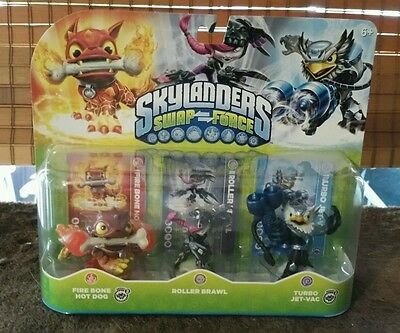 Skylanders Swap Force Triple Pack Fire Bone Hot Dog, Turbo Jet Vac, Roller Brawl