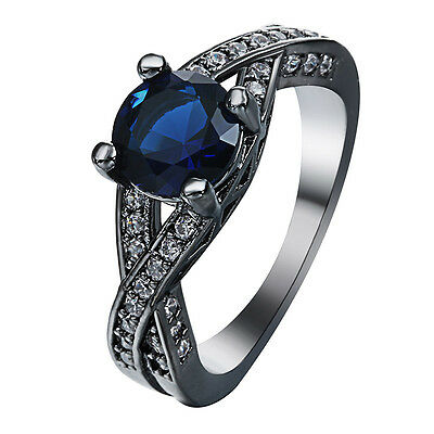 Fashion Jewelry Women Men 925 Silver Black Gold Filled Sapphire Party Ring Sz 10