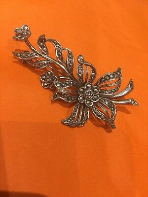 Vintage Large Sterling Silver Marcasite Flower Spray Brooch Pin
