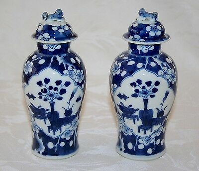 "Pair Of Lovely Blue & White Vintage Chinese Prunus Lidded Jars 6 1/2"" High"