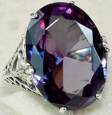 Fashion Women 925 Silver Huge Amethyst Solitaire Ring Wedding Band Party Size 9