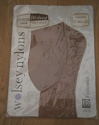 VINTAGE 50s WOLSEY TAN SEAMED NYLON STOCKINGS FULLY FASHIONED TOE CUBAN HEEL