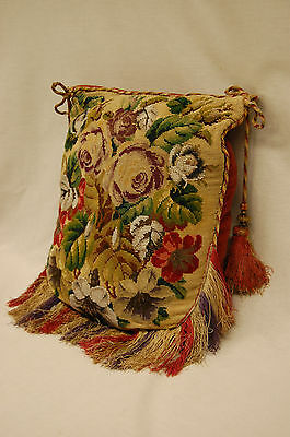 19th Century Victorian Needlepoint and Glass Beaded Panel on a Pillow