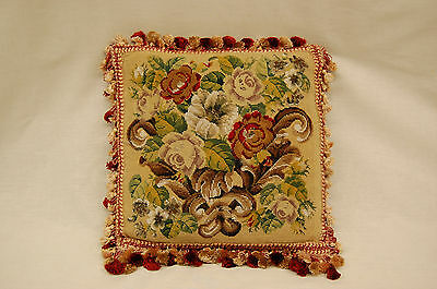 Early 20th Century Needlepoint Pillow on Burgundy Velvet Backing