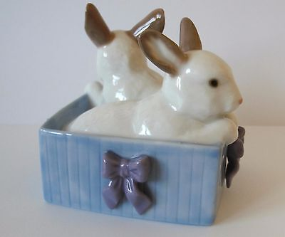Nao by Lladro Two Rabbits Sitting in a Box