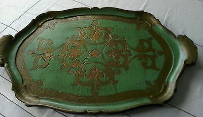 2  Vintage Italian green and gold gilt serving tray