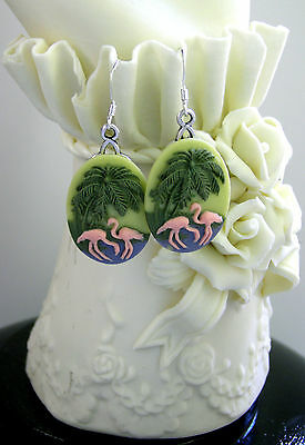 Tropical Cameo FLAMINGO Earrings-Sterling Silver Ear Wires-Dangle Flamingos