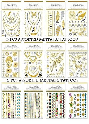 5 x ASSORTED Temporary Metallic Tattoo Flash Necklace Bracelet Ring Gold Silver