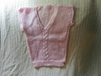 "Pink Vest Children's size 8 ""mohair style"" yarn, cable knit front, V-neck"