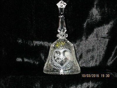 Lead Cut Crystal Bell, Sisters Sentiment w/ Box, Etched Design Artmark 1988