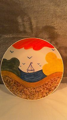 Clarice cliff style hand painted plate 8 inch. slight second
