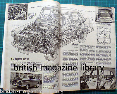 Autocar 6 February 1959 - MG Magnette Mk 3 technical cutaway - Wolseley 15/60