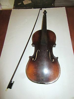 Antique Violin & Bow 23 For Restoration / Parts
