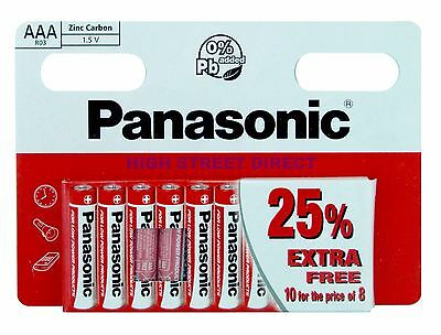 10 X Panasonic AAA Zinc Carbon Batteries 1.5V, 25% EXTRA FREE 10 FOR PRICE Of 8