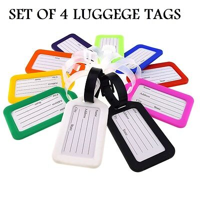 SET OF 4 Plastic Suitcase Luggage ID Tags Labels NAME ADDRESS ID SUITCASE TRAVEL