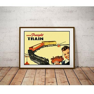 Wartime Freight Train Poster - 1940's Toy Train Set Made Without Using Steel