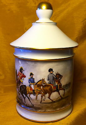 Antique Jena 1806 Napoleon French Porcelain HUMIDOR Jar Painted/Signed GARNIER