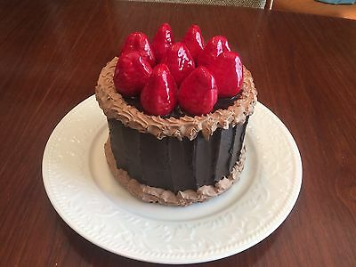 Fake Cake, Prop cake - Chocolate Topped With Strawberries.