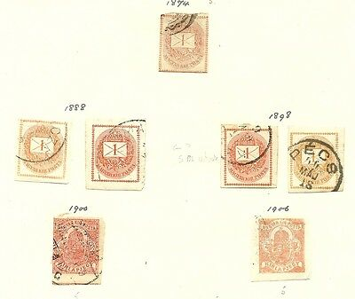 Hungary 1870s - 1920s 4 pages of used Newspaper & Postage Due stamps