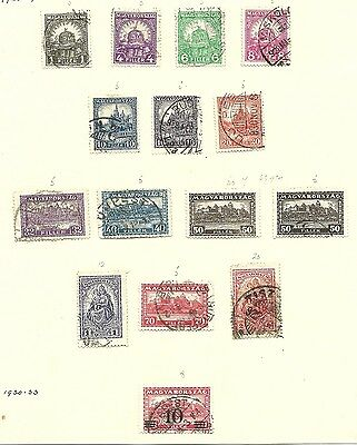 Hungary 1926 - 1938 2 pages of used stamps