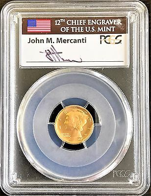 2016-W 1/10 Oz Gold Mercury Dime PCGS SP70 FIRST DAY OF ISSUE MERCANTI SIGNED