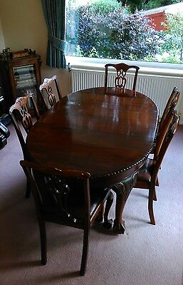 Antique Victorian Queen Anne Style Extending Table and Chairs Seats 6