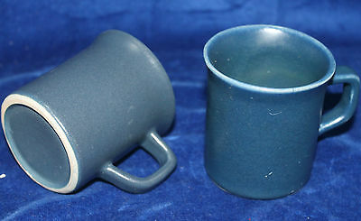 Vintage Small Blue Stoneware Demitasse Espresso Coffee Cups c.1970