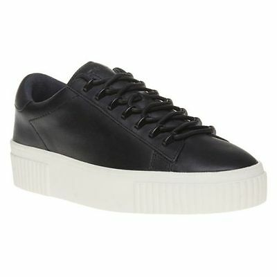 453b80957899  130 size 10 KENDALL and KYLIE Reese Black Leather Sneakers Womens Shoes NEW