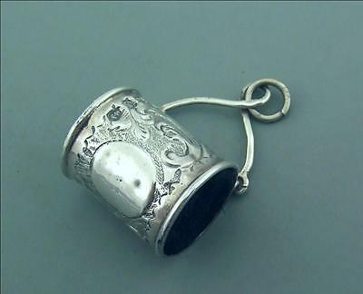 Antique Victorian Novelty Solid Silver Barrel Pin Cushion For Chatelaine
