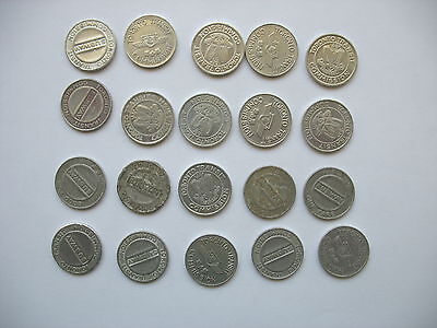 TORONTO TRANSIT COMMISSION TOKENS - Lot of 20 - Two different types