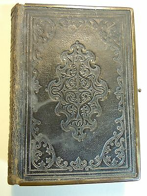 "Vintage Leather bound bible with brass edging 1864 6"" x 4"" x 1 3/8"" Well used"