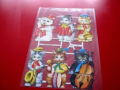 Vintage Style Die Cut  Paper Scraps Cute Cats/dressing Up/instruments New