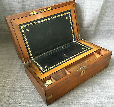 Antique Regency Rosewood & Brass Campaign Writing Slope Wooden Box Chest c1840