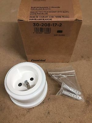 new fontini garby collection white porcelain french two pole socket 30-208-17-2