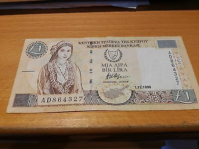 Cyprus banknote £1 One Pound 1998 AD864327  CIRCULATED