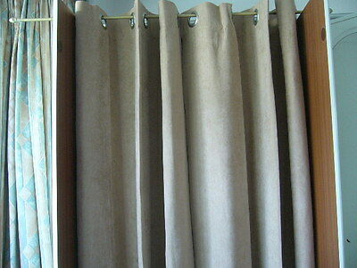 pair lined beige suede effect  curtains  with silver ring tops