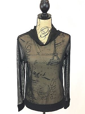 Forever 21 Women's Hoodie - Sheer Long Sleeve Sweater - Size S