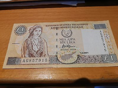 Cyprus banknote £1 One Pound 2001 AG857915  CIRCULATED