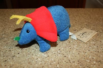 Vintage Eden Triceratops Rattle Plush Dinosaur 1987 With Tags Blue Terry Cloth