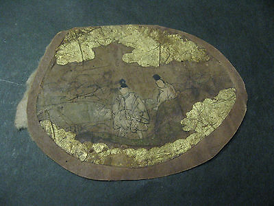Real Japanese Drawing 2 Noble Man Pond in Garden Noble Hand Drawn around 1550's