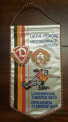 Pennant Match EC 1972/73 Dynamo Dresden - FC Liverpool Very Rare