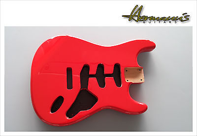 Stratocaster Body, Stratocaster Erle Body, Finish Fiesta Red High Gloss