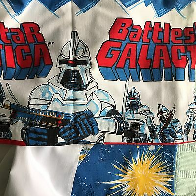 Vintage BATTLESTAR GALACTICA sheets converted lined curtain panels Sci-fi kids