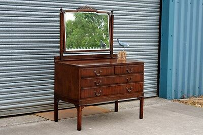 Antique Dressing Table With Drawers And Bevel Mirror.