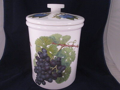 """Pomona Portmeirion 13"""" Bread Crock w Lid Grapes/Plums Excellent Made in England"""