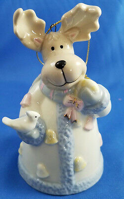 Formalities by Baum Bros Porcelain Sleigh Bell Reindeer Ornament Bell