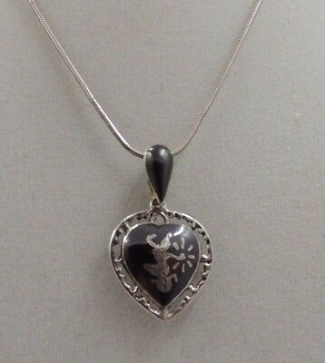 """Vintage Siam Sterling Niello Black Enamel Goddess Heart Necklace With 16"""" Chain"""