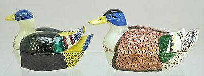 Rare Pair of Antique Creamware Schramberg Duck Tureens with Covers 19th Century