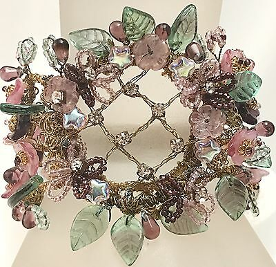Unsigned Miriam Haskell Style Glass & Rhinestone Floral Leaves Beaded Bracelet